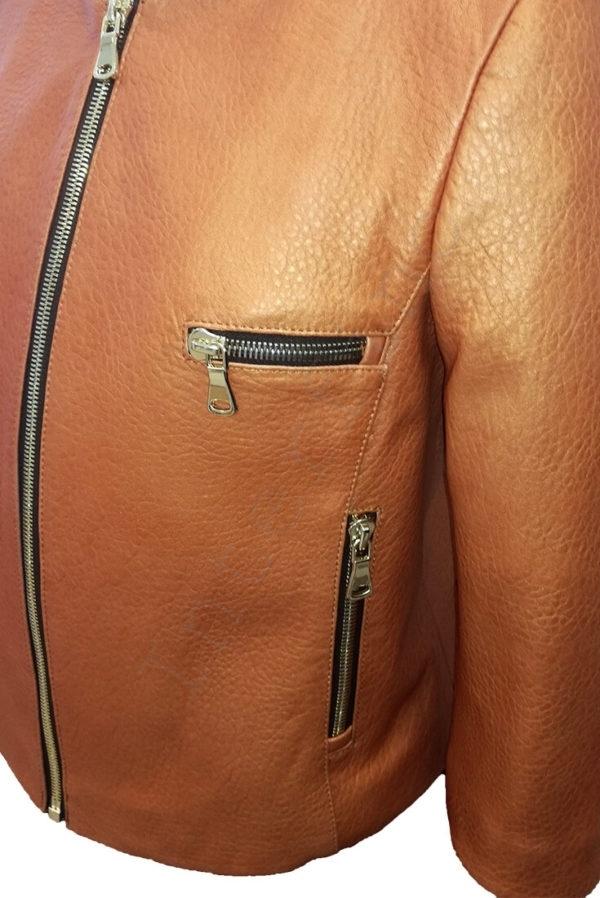 Куртка женская 53-2017 коричневая крупным планом