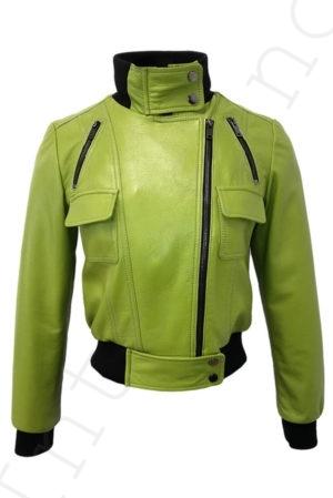 Короткий кожаный бомбер 13-2019 светло-зеленый