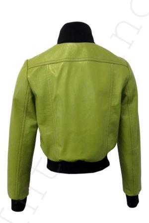 Короткий кожаный бомбер 13-2019 светло-зеленый сзади