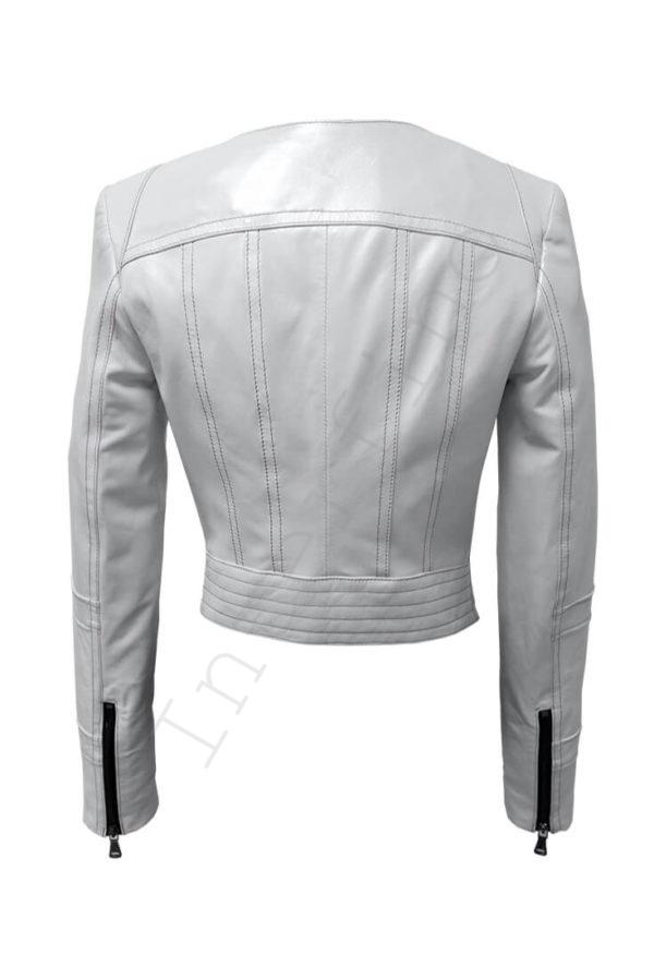 Кожаная куртка с двойным воротом 14-2013 белая сзади