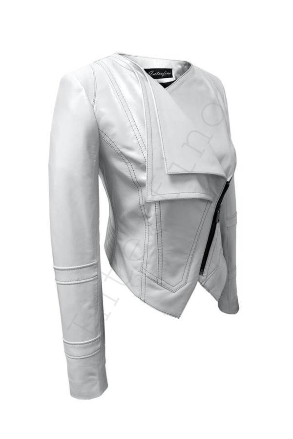 Кожаная куртка с двойным воротом 14-2013 белая сбоку