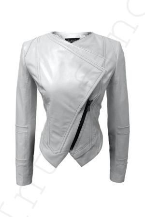 Кожаная куртка с двойным воротом 14-2013 белая