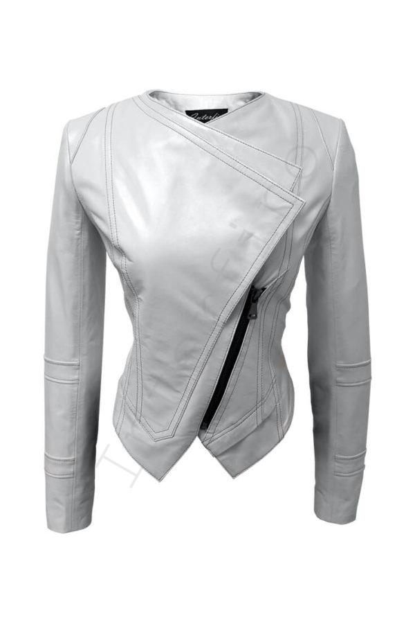 0c1630d71ae Кожаная куртка с двойным воротом 14-2013 белая