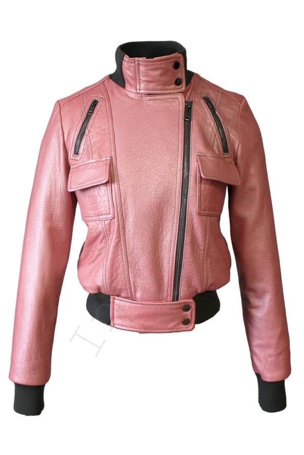 Короткий кожаный бомбер 13-2019 розовый