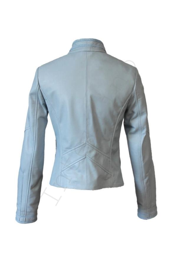 Кожаная куртка на болтах голубая 44-2019 сзади