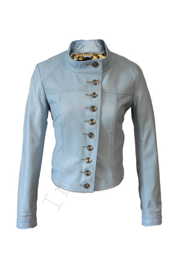Кожаная куртка на болтах голубая 44-2019