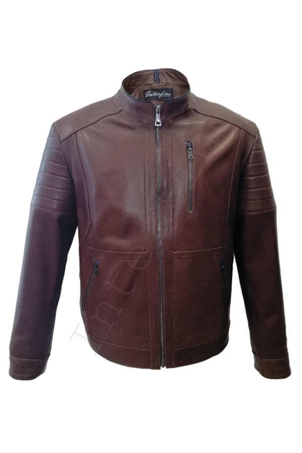 Мужская кожаная коричневая куртка 04-2019