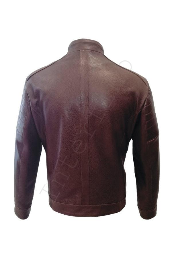 Мужская кожаная коричневая куртка 04-2019 сзади