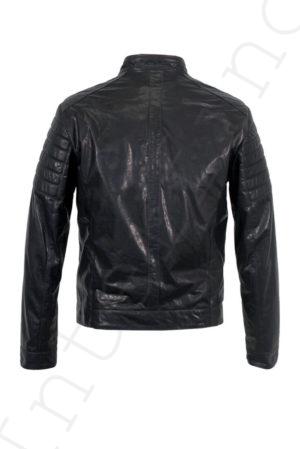 Мужская кожаная темно-синяя куртка 04-2019 сзади