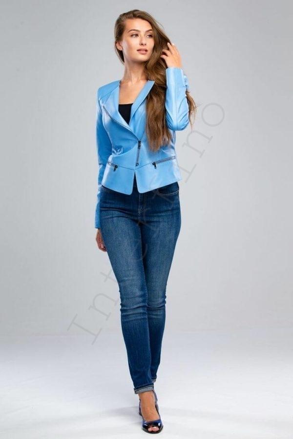 Куртка женская 23-2018 васильковая спереди