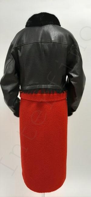 Женское пальто из кожи и экомеха 84-2019 сзади
