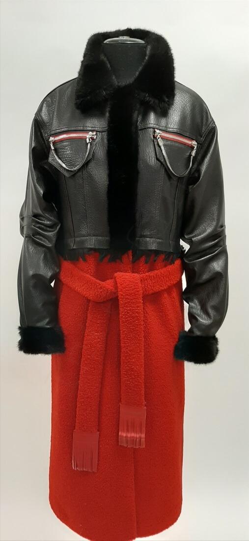 Женское пальто из кожи и экомеха 84-2019 спереди