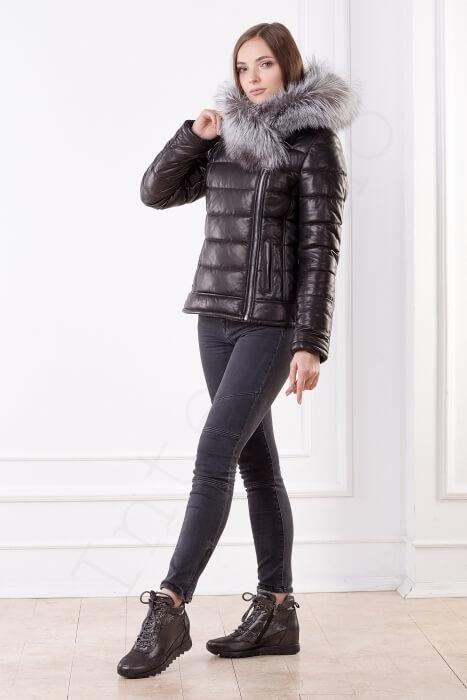 Женская кожаная куртка черная 03-2014